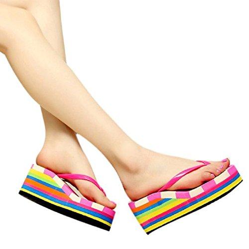 OVERMAL Sandales, Summer Bohemia doux Tongs Sandales clip Toe Chaussures de plage Rouge