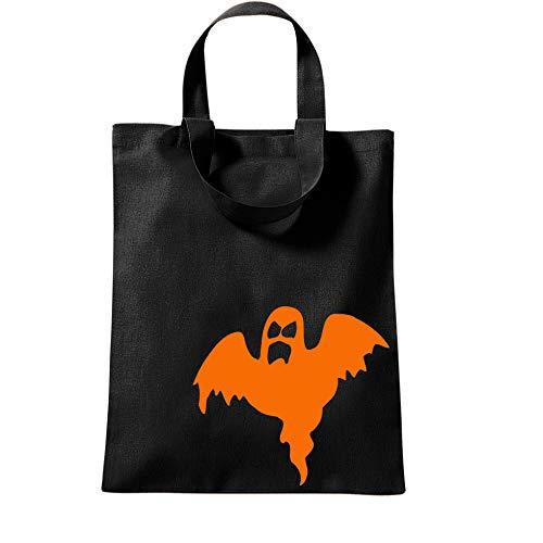 klamottenkiste24 Beutel für Halloween Bedruckt mit div. Designs Baumwollbeutel Stoffbeutel Geist schwarz-orange 38x42 cm
