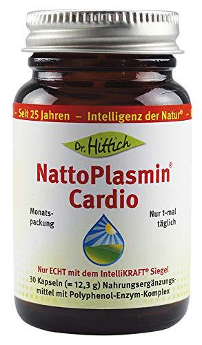 Herz-gesundheit Vegetarische Kapseln (NattoPlasmin® Cardio - 30 Nattokinase Kapseln mit Zink, Vitamin C, B1 und D - Echte Nattokinase NSK-SD - Von Dr. Hittich)