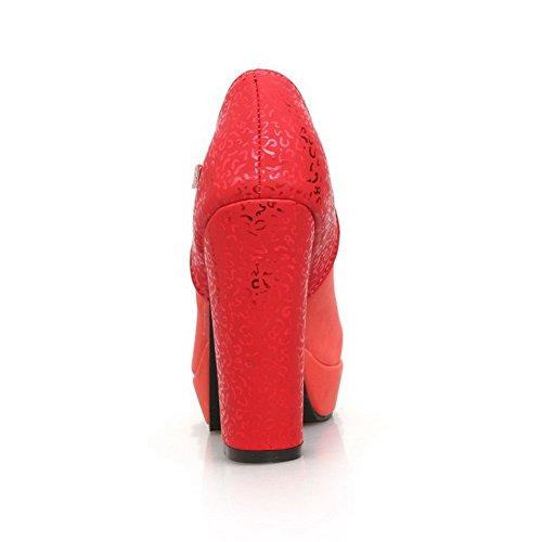 AllhqFashion Damen Rund Schließen Zehe Schnalle Pu Rein Hoher Absatz Pumps Schuhe Rot