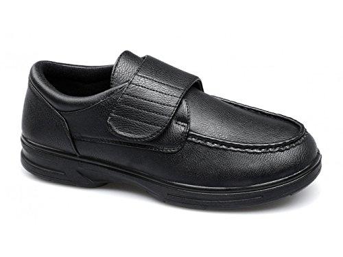 Dr Keller Tony para Hombre Velcro Barra Comodidad Amplia Ajuste Zapatos Negro, Color Negro, Talla 40