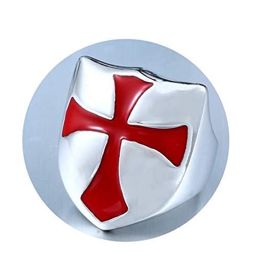 Bishilin Edelstahl Ring Herren Punk Schild Kreuz Partnerring Gothic Ring Silber Größe 57 (18.1) - Lampenschirm Wachs