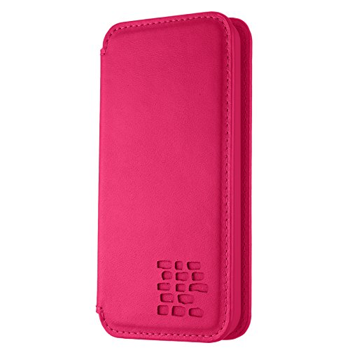 "ROMA Luxus Echt Ledertasche iPhone SE. Hülle Ultra Dünn iPhone 5S Premium Design Leder Tasche Case. iPhone 5 Lederhülle Echtleder mit unsere ""Doppelschild"" Rundumschutz. Rot Pink"