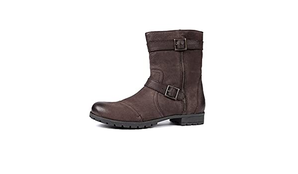 a46bb2830181 Aspele Womens Brown Ankle Leather Biker Boots (UK 4 EU 37)  Amazon.co.uk   Shoes   Bags