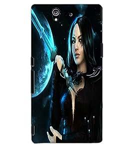 ColourCraft Warrior Girl Design Back Case Cover for SONY XPERIA Z1