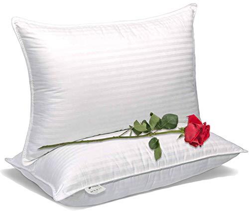 Olivia weiß Luxury Plüsch Gel-Bett Kissen-(Queen, 2er Pack)-Best für weiche Ergonomische bequem Schlafen-Hypoallergen Set-Staub resistent umfasst und Füllmaterial-Bonus 2-pillowcases -