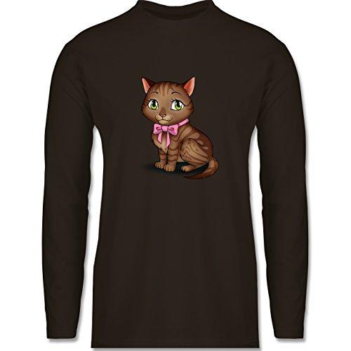 Katzen - Kätzchen mit Schleife - Longsleeve / langärmeliges T-Shirt für Herren Braun