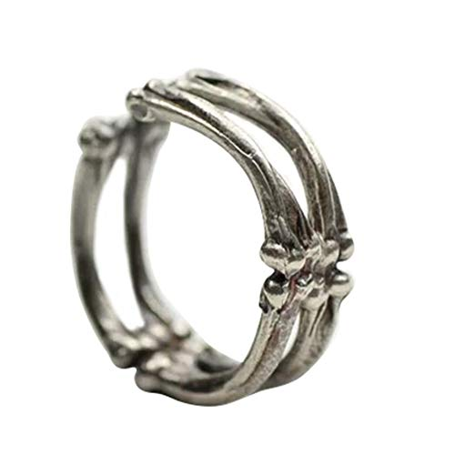 x Ring, antike Gothic einstellbare Halloween Skelett Knochen Fingerring Unisex Schmuck Silver ()