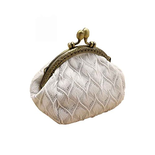 QHGstore Zero Wallet Frauen Blume Hasp Mini Portable Kinder Key Kreditkarte Headset Bag Münze Geldbörse Weiß (Kiss Lock Geldbörse)