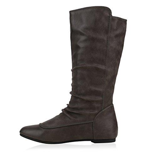 Damen Schuhe Schlupfstiefel Boots Grau