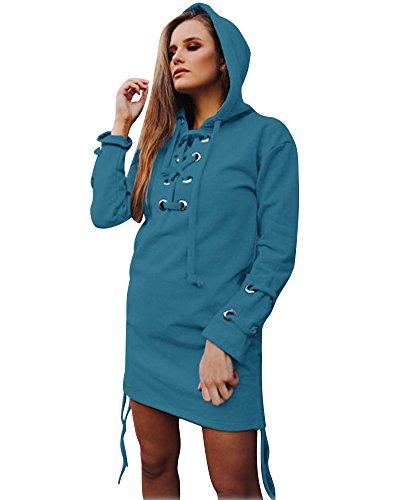 Tomwell Damen Mode Hoodie mit Zip Langarm Pullover Jumper Pulli Sweatshirt Jumper Blau DE 34 - Erwachsene Heavy Blend Crew Neck