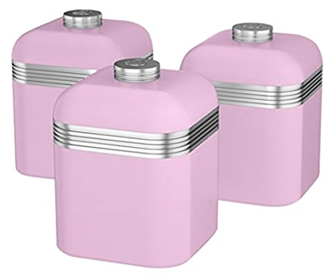 Swan Products Retro Canisters, Pink, Set of 3