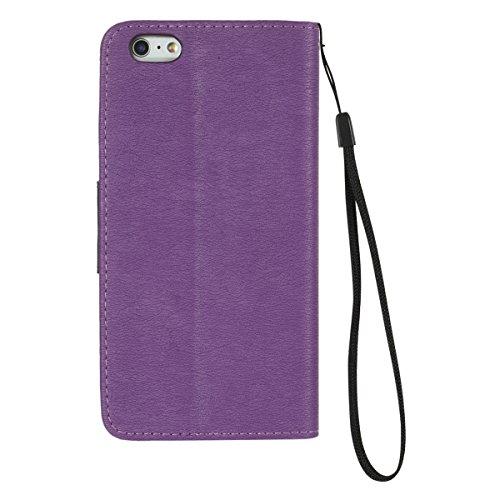 iPhone 6S Plus Hülle, iPhone 6 Plus Hülle, Gift_Source [ Rose ] Leder Schutztasche Klappetui Brieftasche Handyhülle Stand Hülle Etui with Karte Halterung Leder Wallet Klapp hülle Flip Book Case für iP E1-Lila
