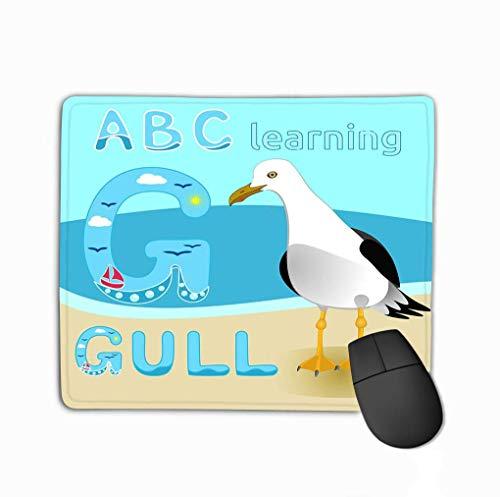 Rectangle Non-Slip Rubber Mousepad 11.81 X 9.84 Inch Seagull Bird Cartoon Character Gull Short Tailed Albatross sea Beach Fauna Great Kids Print Anim