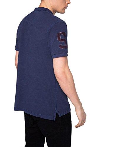 ESPRIT Herren Poloshirt 026ee2k033-mit Applikationen-Regular Fit Blau (INK 415)