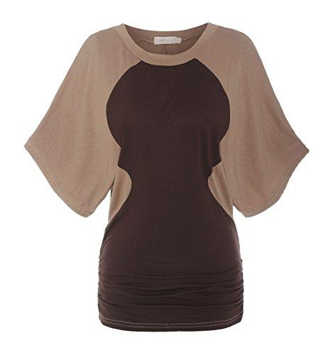 ReliBeauty Damen Boot Ausschnitt T-shirt Mehrfarbig Farbe Block Raglan Ärmel Falten Tunika Tops, Kamel, 42 (Manschetten Rb)