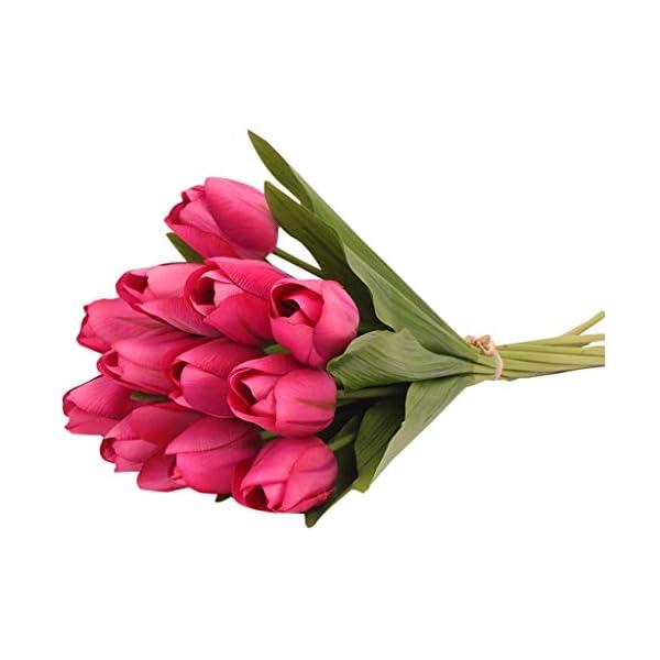 Ramo de 12 Tulipanes Artificiales de látex de CRITY, para Novia, Boda, decoración del hogar, Blanco, 13.8inch