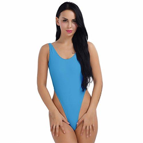 YiZYiF Damen Body Sportbody High Cut Rückenfrei Dessous Bodysuit Thong Leotard Bikini Badeanzug S M L XL 2XL (Himmelblau, Small) (Thong Body)