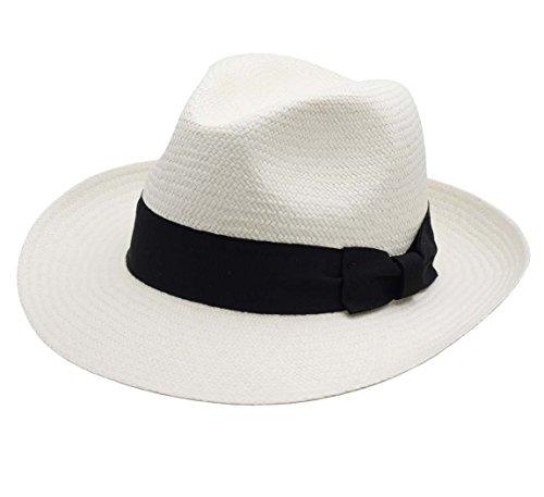 Classic Italy Authentique Chapeau Panama, tressage Traditionnel en Équateur - 4 Coloris - Homme Havana Fedora - Taille 55 cm - Blanc