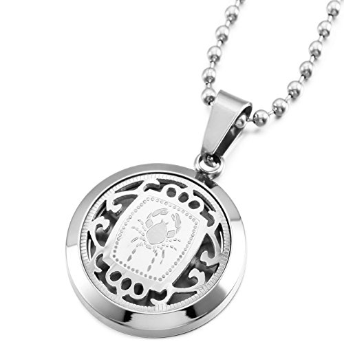 MeMeDIY Silber Ton Edelstahl Anhänger Halskette Krebs Horoskop Tierkreis Sternzeichen ,mit 58cm Kette - Kundenspezifische Gravur