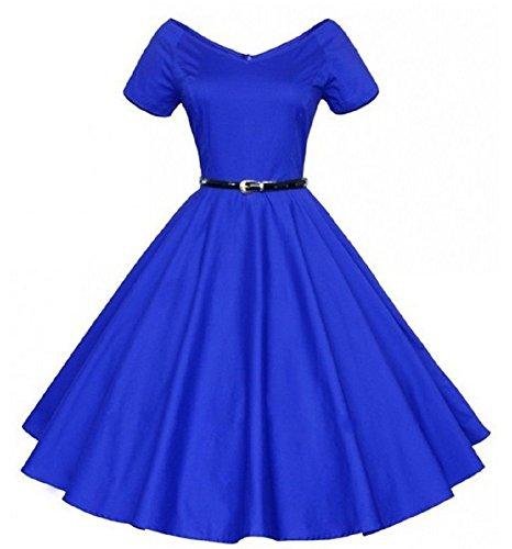 BOMOVO Damen 40s 50s 60s Vintage V-Ausschnitt Schwingen Rockabilly Pinup Ballkleid Partei Kleid Blau
