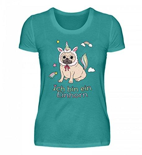 Shirtee Hochwertiges Damen Organic Mops Einhorn Pug Unicorn Hund Atollblau