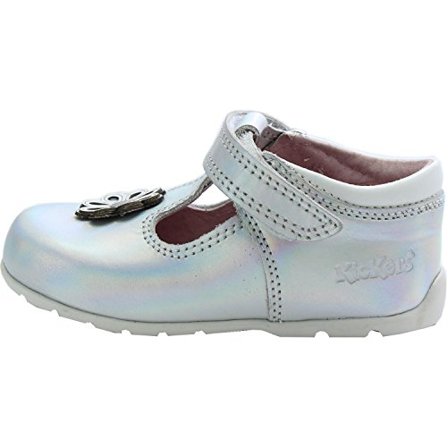Kickers Kick Hi Dot Baby Silver Leather First Walkers Shoes silver