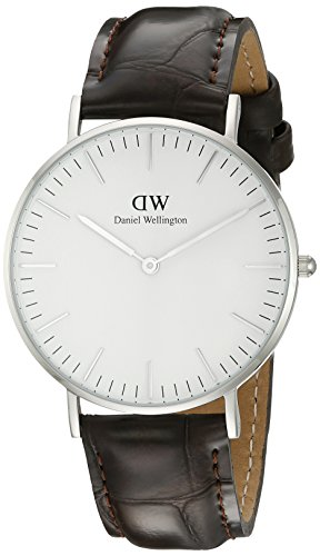 Daniel Wellington York Silver Women's Quartz Watch with White Dial Analogue Display and Brown Leather Strap 0610DW