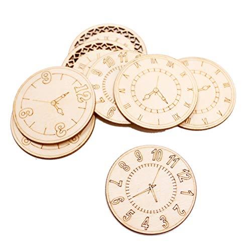 SUPVOX Holz Scheiben Uhr Form Natürliche Holz Ausschnitte Holz Anhänger Wandaufkleber Tisch Streu Deko für DIY Handwerk zum Basteln Bemalen 8 Stück