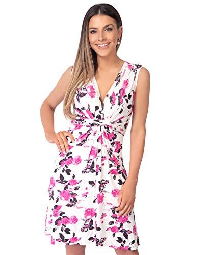 KRISP 6252-PNK-14 Damen Kleid Geknotet Blumenmuster (Rosa, Gr.42)