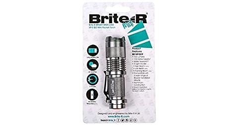 Brite-R MF009 CREE XP-E R2 LED Réglable Mini Torche Lampe de Poche et Brite-R 360° Rotatif Vélo Mount Bracket Support Lampe de Poche, avant Support de Torche Lumière du Plan-Séquence (Argent Torche) - Bright Blue Headlights
