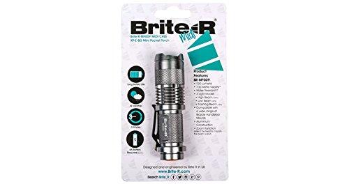 Brite-R Mf009 Torcia Lampada Cree Xp-E R2 Led Luz 300Lm Fascio Regolabile - Argento - Bright Blue Headlights