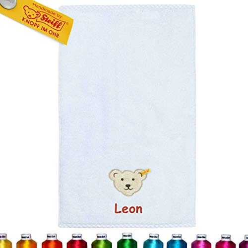 LALALO Steiff Kinder & Baby Handtuch Bestickt mit Namen, Frottee Kinderhandtuch personalisiert, Zierkante, Junge, Hellblau Winter Sky (30x50 cm Handtuch)