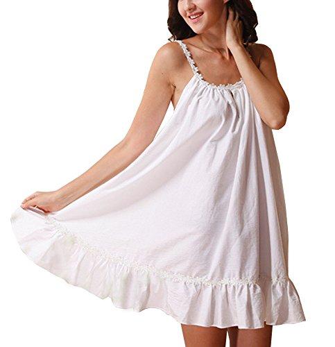 Cheerlife Damen Nachthemd Ärmellos 100% Baumwolle mit Volants Schlafkleid Nachtkleid Nachtwäsche Sleepshirt Kurz (XS, Weiß)