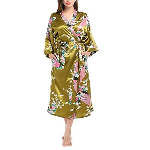 Damen Morgenmantel Kimono Satin Kurz Nachtwäsche Bademantel Robe Schlafanzug,Loser Bademantel mit Pfaumuster A-3 M (Tigger Weich Kostüm)