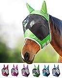 Harrison Howard CareMaster Pro Luminous Fliegenmaske UV-Schutz mit Ohrenschutz Smaragd Grün Vollblut (M)