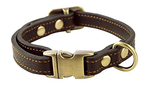 Covink® Adjustable Lenght From 9.5 Inch to 13 Inch, 0.6 Inch wide Genuine Leather Dogs Collar for Medium Dogs Small dogs Brown