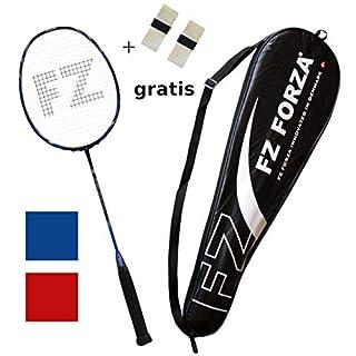 FZ Forza - Badmintonschläger Airflow 74 Lite - sehr Leichtes Vollgraphit Racket für tolle Kontrolle - besaitet - blau + 2 Overgrips gratis + Fullsize Racketcover