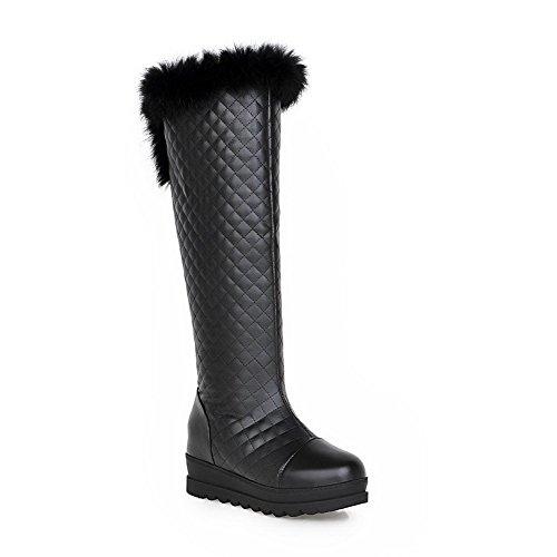 VogueZone009 Damen Hoch-Spitze Rein Ziehen auf Schließen Zehe Hoher Absatz Stiefel, Weiß, 34