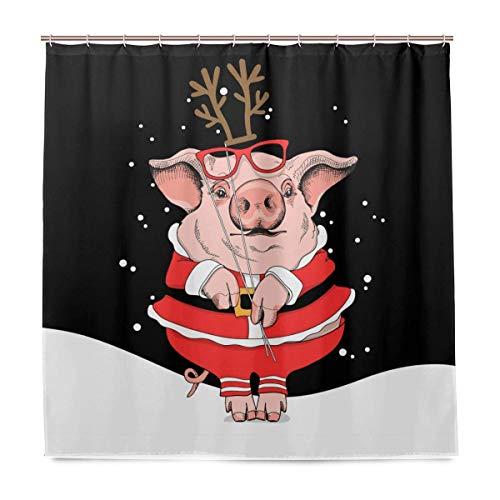 Bad-Set für den täglichen Gebrauch verlässt Duschvorhang mit Haken Weihnachten Schwein Santa's Kostüm wasserdicht 72x72 Zoll Polyestergewebe