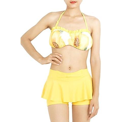 iB-iP Mujer Estampado Floral Junta Corto mediados de cintura Trajes de baño