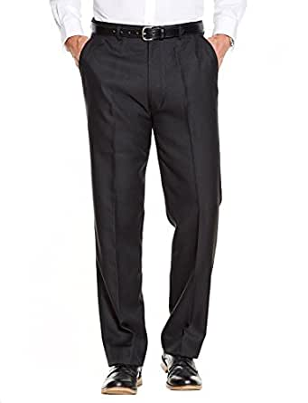 Mens Quality Formal Smart Casual Work Trousers Home/Office  Black 32W x 27L