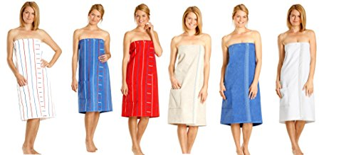 Betz Damen Saunakilt Sauna Kilt 100% Baumwolle Regulierbar der Weite durch Knöpfe und Gummizug Farbe weiß