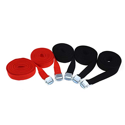 ENET 5 Stück Spanngurte Gepäckträger Dachträger Zurrgurte Kajak Kanu Gurt Boot Anhänger Schnalle Schnalle Set schwarz rot 2,5 cm x 5 m
