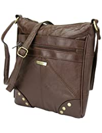 Lorenz Accessories Lorenz Soft Leather Zipped Across the Body Slim Hand Bag. (BROWN)