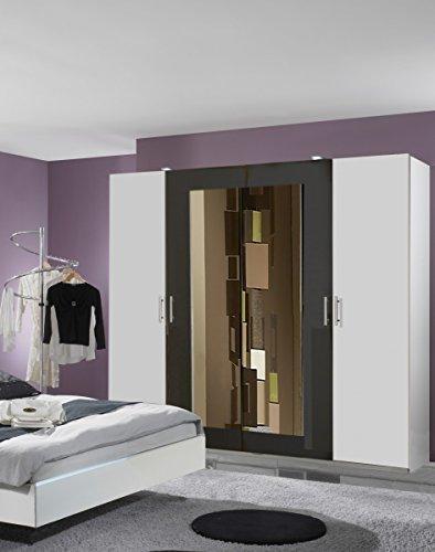 Dreams4Home Drehtürenschrank \'Cult\', Schlafzimmer, Schrank, weiß, graphit, schwarz, Kleiderschrank, 2 Spiegel, Spiegelschrank