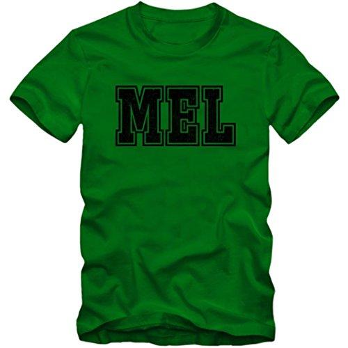 MEL Premium T-Shirt | Airport-Shirt | Melbourne | Reisen | Herren | Shirt © Shirt Happenz Dunkelgrün (Bottle Green L190)