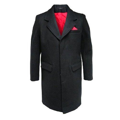 Herren Mantel - rot gefüttert - 80 % Wolle - 60er Jahre/Mod-Stil - XXL Wolle Herren Mantel