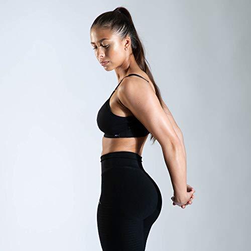 SMILODOX Sport Bra Jelly   Fitness-BH ohne Bügel   Herausnehmbare Cups   Bustier für Pilates Yoga Gym Fitness   Soft Büstenhalter, Farbe:Schwarz, Größe:S - 6