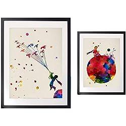 Nacnic acks de Lattes Le Petit Prince. Posters Style Aquarelle avec Images du Petit Prince. décoration de Maison. Lattes pour encadrer